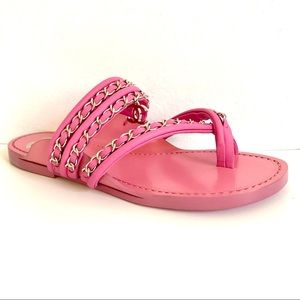 Chanel bubblegum pink toe ring sandal with chains